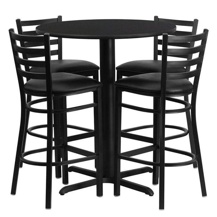 30 Round Black Laminate Table Set With 4 Ladder Back Metal Barstools - Black Vinyl Seat - Restaurant Furniture Table & Chair Sets