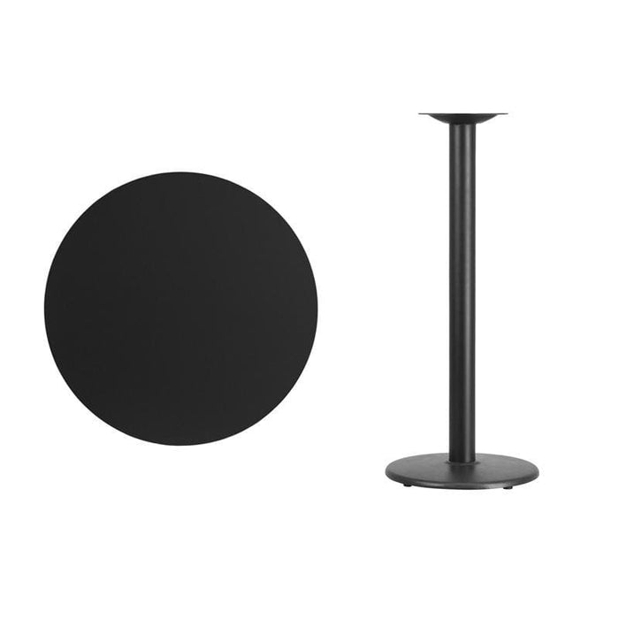 30 Round Black Laminate Table Top With 18 Round Bar Height Table Base - Restaurant Tables