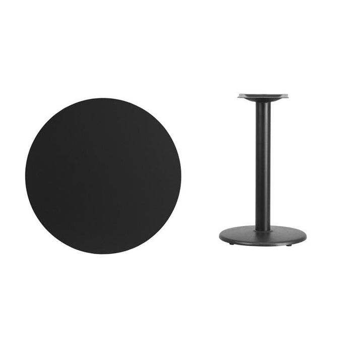 30 Round Black Laminate Table Top With 18 Round Table Height Base - Restaurant Tables
