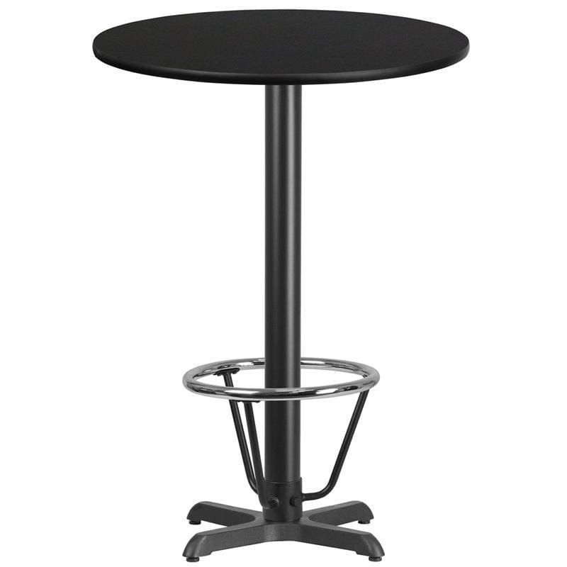 30 Round Black Laminate Table Top With 22 X 22 Bar Height Table Base And Foot Ring - Restaurant Tables