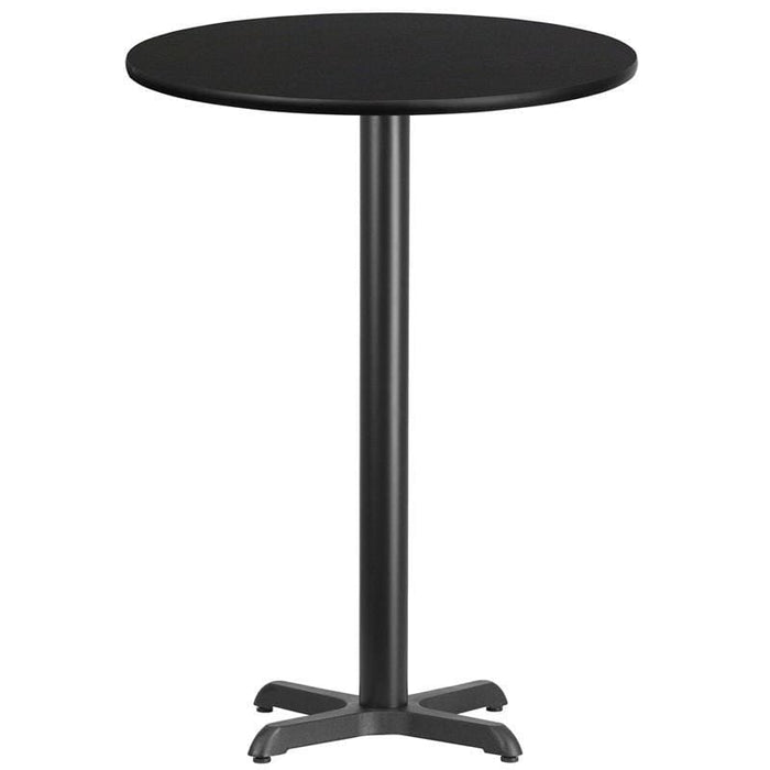 30 Round Black Laminate Table Top With 22 X 22 Bar Height Table Base - Restaurant Tables