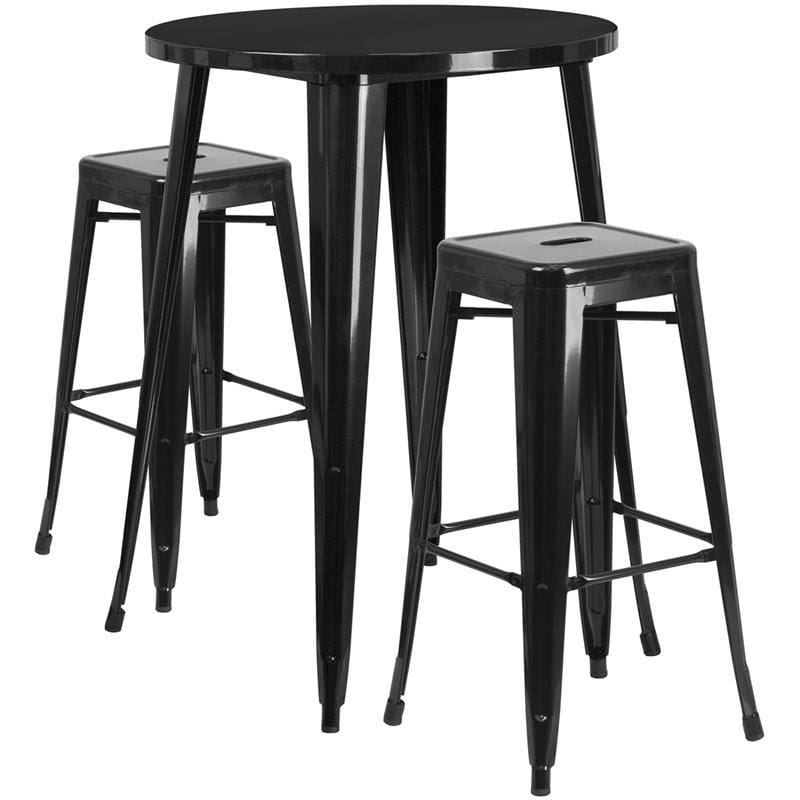 30 Round Black Metal Indoor-Outdoor Bar Table Set With 2 Square Seat Backless Stools - Indoor Outdoor Sets