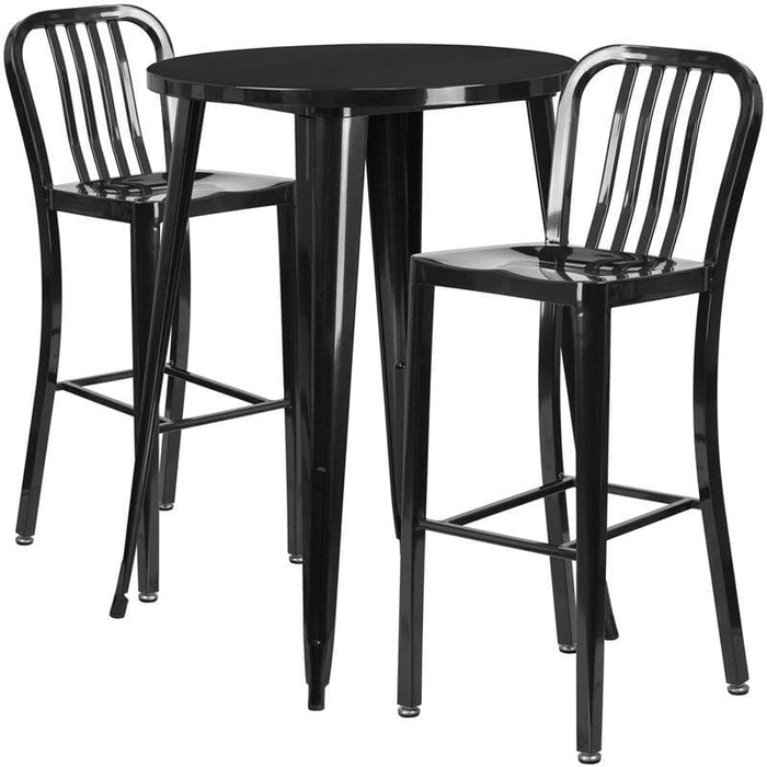 30 Round Black Metal Indoor-Outdoor Bar Table Set With 2 Vertical Slat Back Stools - Indoor Outdoor Sets