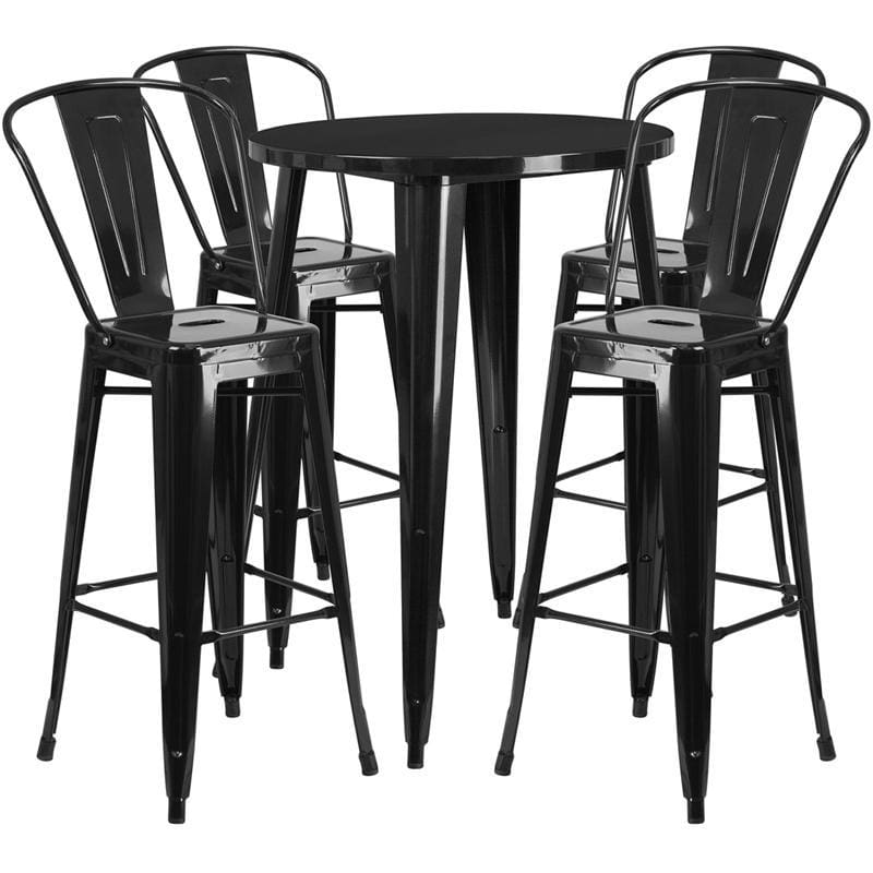 30 Round Black Metal Indoor-Outdoor Bar Table Set With 4 Cafe Stools - Indoor Outdoor Sets