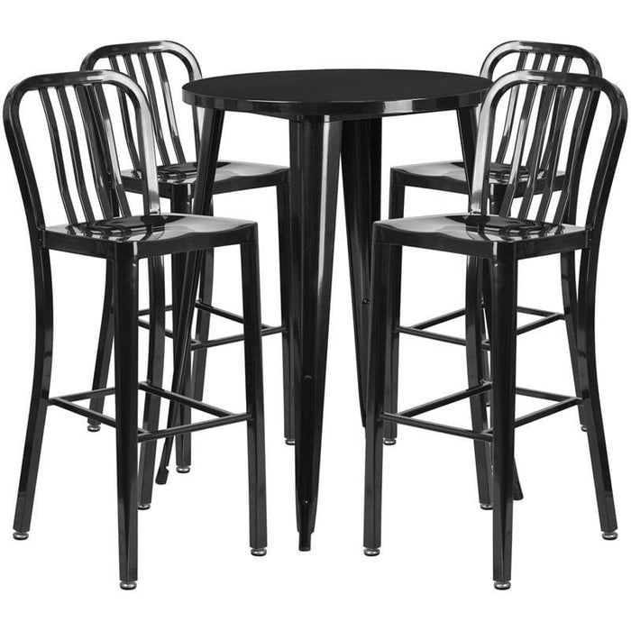 30 Round Black Metal Indoor-Outdoor Bar Table Set With 4 Vertical Slat Back Stools - Indoor Outdoor Sets