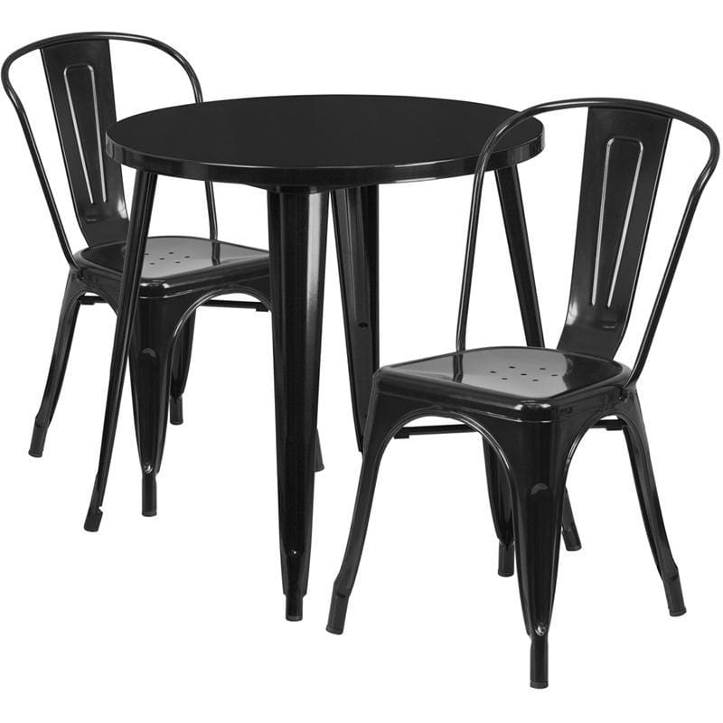 30 Round Black Metal Indoor-Outdoor Table Set With 2 Cafe Chairs - Indoor Outdoor Sets