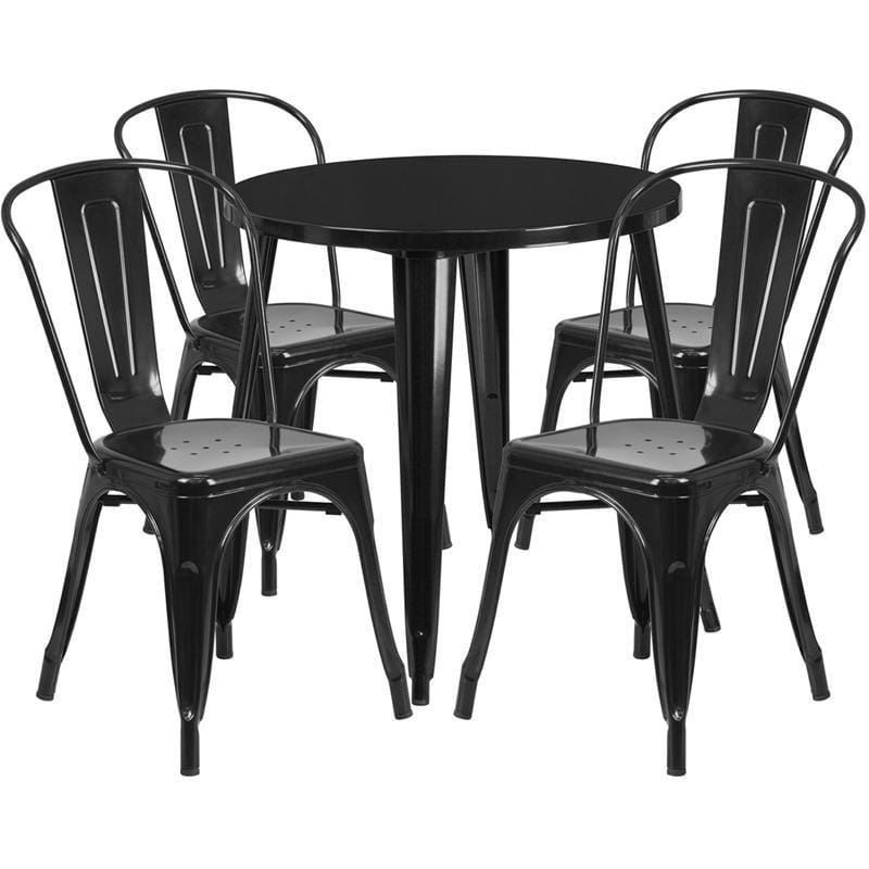 30 Round Black Metal Indoor-Outdoor Table Set With 4 Cafe Chairs - Indoor Outdoor Sets