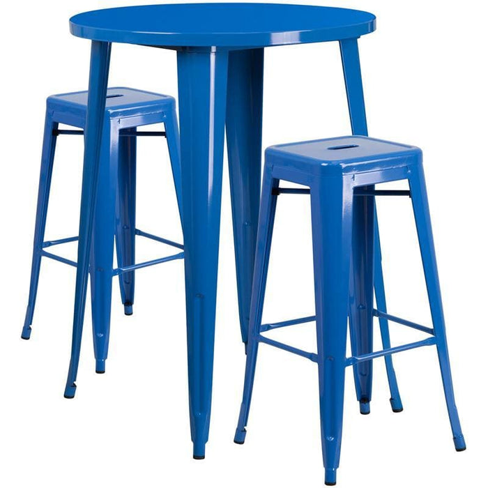 30 Round Blue Metal Indoor-Outdoor Bar Table Set With 2 Square Seat Backless Stools - Indoor Outdoor Sets