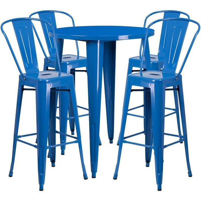 30 Round Blue Metal Indoor-Outdoor Bar Table Set With 4 Cafe Stools - Indoor Outdoor Sets