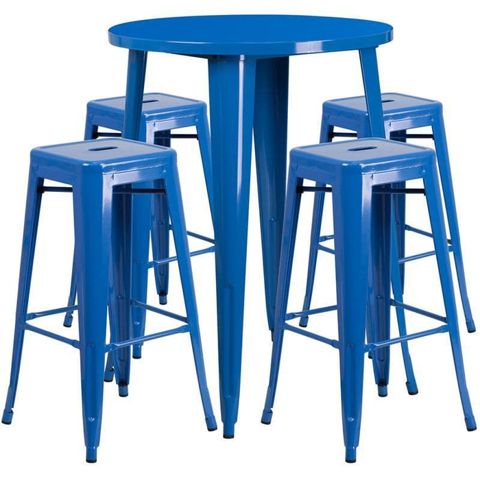 30 Round Blue Metal Indoor-Outdoor Bar Table Set With 4 Square Seat Backless Stools - Indoor Outdoor Sets