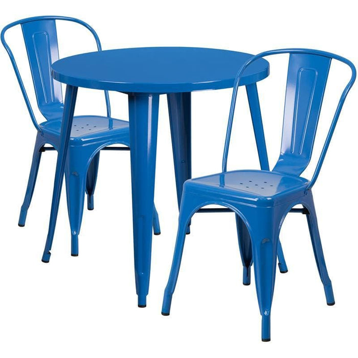 30 Round Blue Metal Indoor-Outdoor Table Set With 2 Cafe Chairs - Indoor Outdoor Sets