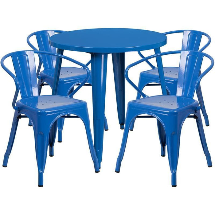 30 Round Blue Metal Indoor-Outdoor Table Set With 4 Arm Chairs - Indoor Outdoor Sets