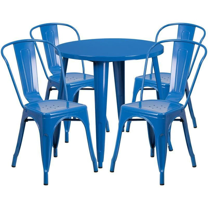 30 Round Blue Metal Indoor-Outdoor Table Set With 4 Cafe Chairs - Indoor Outdoor Sets