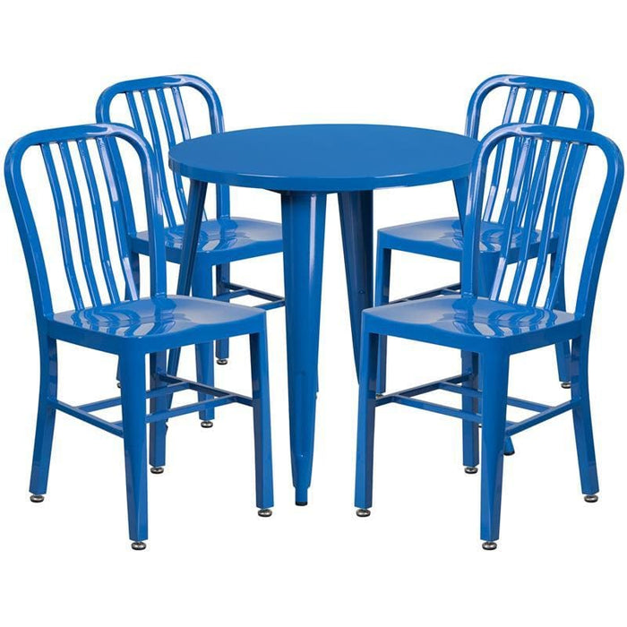 30 Round Blue Metal Indoor-Outdoor Table Set With 4 Vertical Slat Back Chairs - Indoor Outdoor Sets
