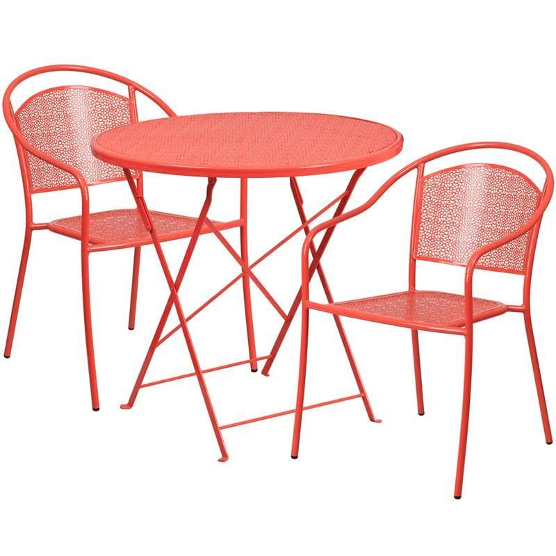 30 Round Coral Indoor-Outdoor Steel Folding Patio Table Set With 2 Round Back Chairs - Indoor Outdoor Sets