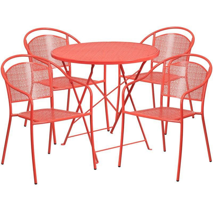 30 Round Coral Indoor-Outdoor Steel Folding Patio Table Set With 4 Round Back Chairs - Indoor Outdoor Sets
