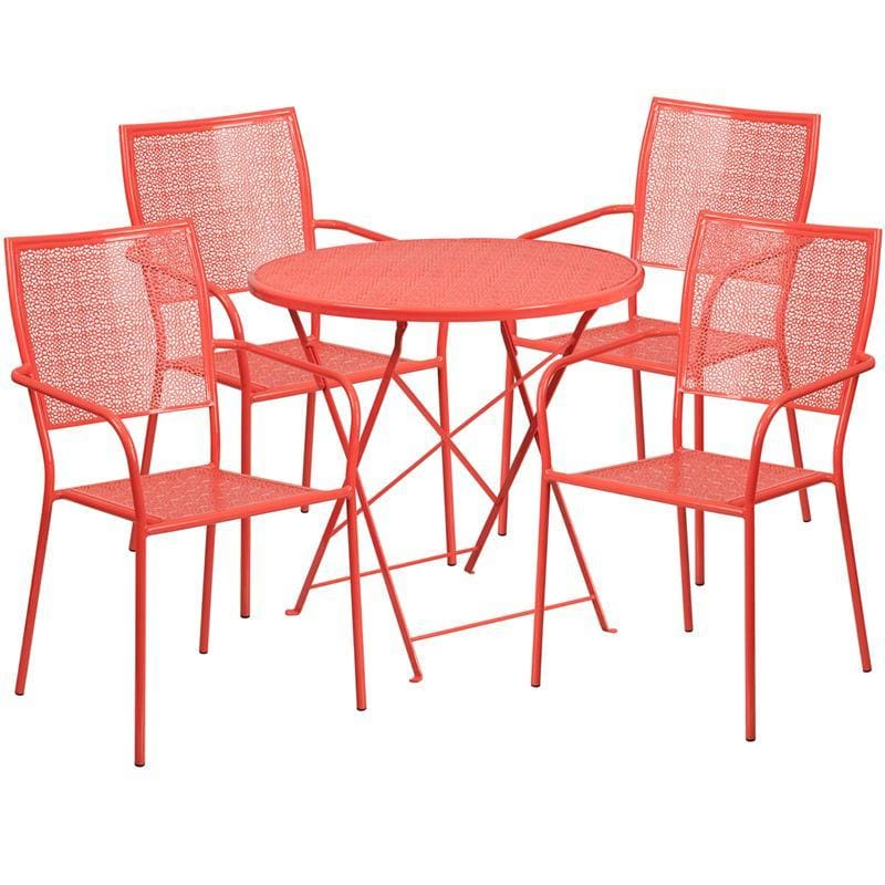 30 Round Coral Indoor-Outdoor Steel Folding Patio Table Set With 4 Square Back Chairs - Indoor Outdoor Sets