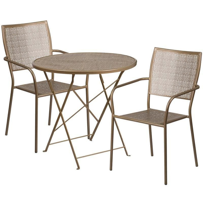 30 Round Gold Indoor-Outdoor Steel Folding Patio Table Set With 2 Square Back Chairs - Indoor Outdoor Sets