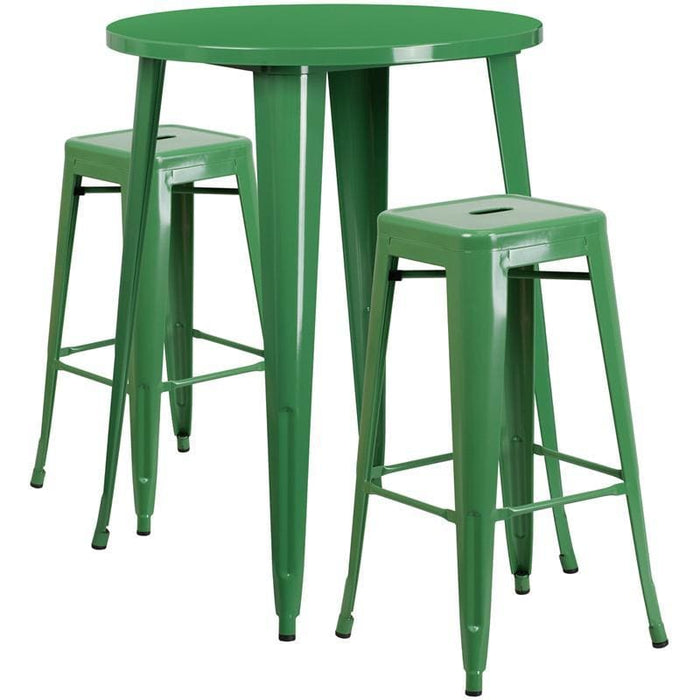 30 Round Green Metal Indoor-Outdoor Bar Table Set With 2 Square Seat Backless Stools - Indoor Outdoor Sets