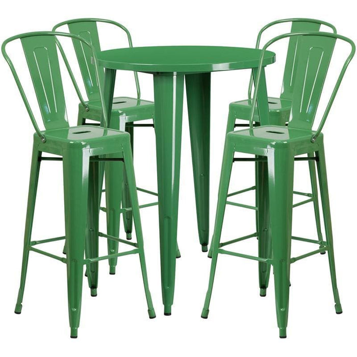 30 Round Green Metal Indoor-Outdoor Bar Table Set With 4 Cafe Stools - Indoor Outdoor Sets