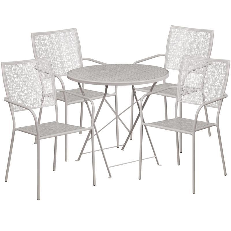 30 Round Light Gray Indoor-Outdoor Steel Folding Patio Table Set With 4 Square Back Chairs - Indoor Outdoor Sets