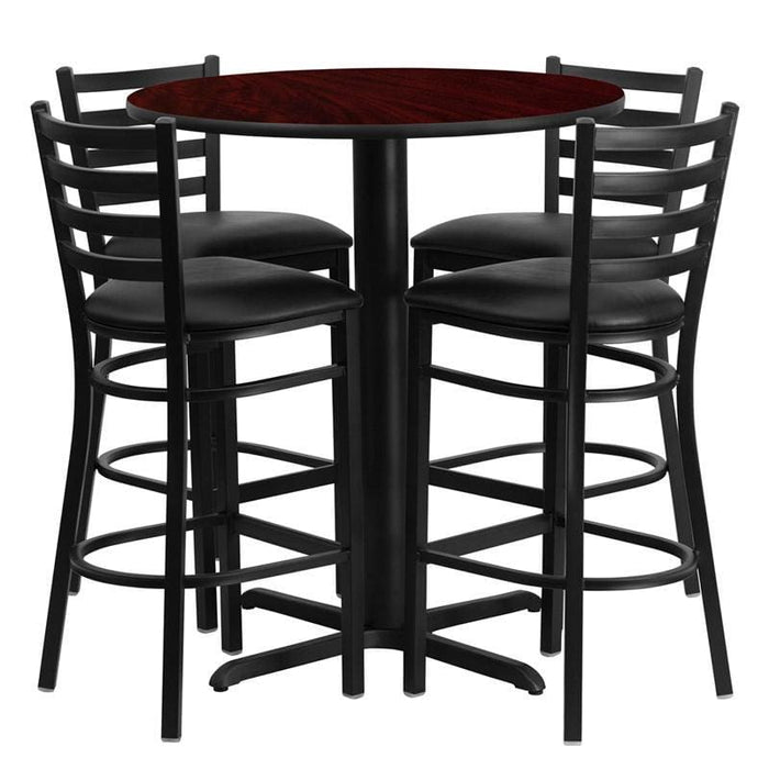 30 Round Mahogany Laminate Table Set With 4 Ladder Back Metal Barstools - Black Vinyl Seat - Restaurant Furniture Table & Chair Sets