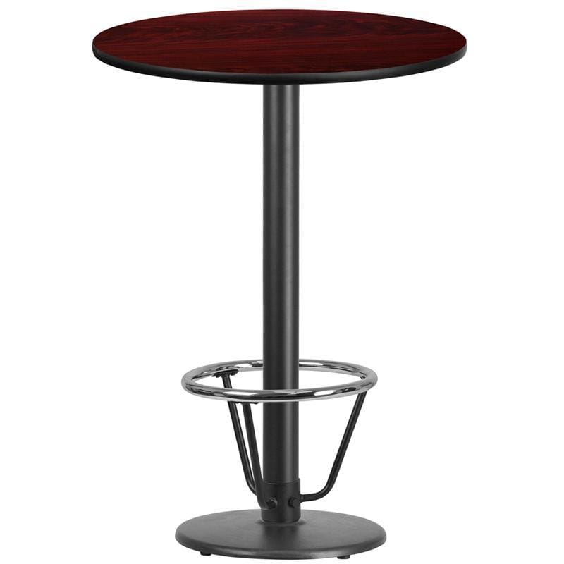 30 Round Mahogany Laminate Table Top With 18 Round Bar Height Table Base And Foot Ring - Restaurant Tables
