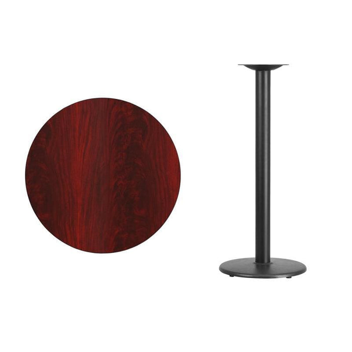 30 Round Mahogany Laminate Table Top With 18 Round Bar Height Table Base - Restaurant Tables