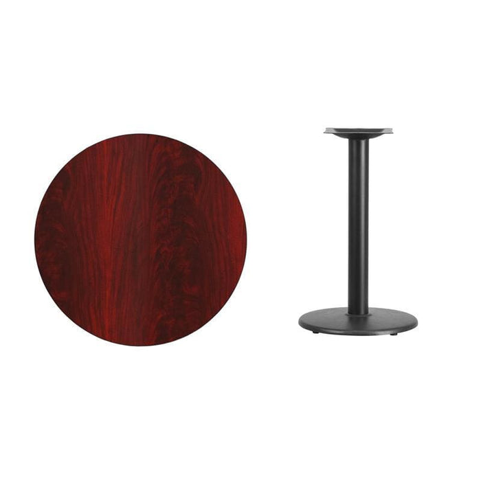 30 Round Mahogany Laminate Table Top With 18 Round Table Height Base - Restaurant Tables