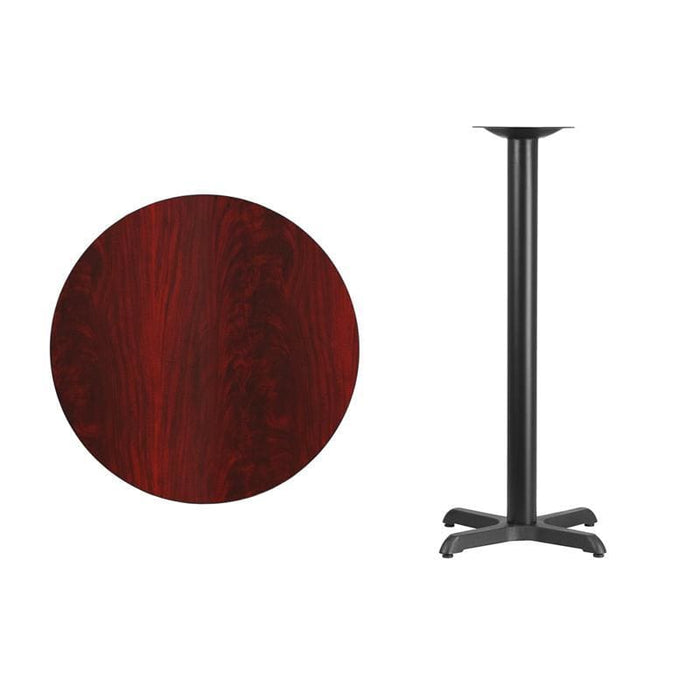 30 Round Mahogany Laminate Table Top With 22 X 22 Bar Height Table Base - Restaurant Tables