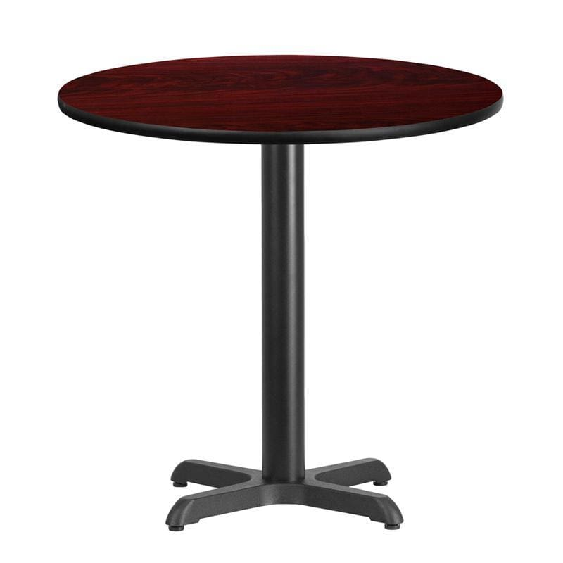 30 Round Mahogany Laminate Table Top With 22 X 22 Table Height Base - Restaurant Tables