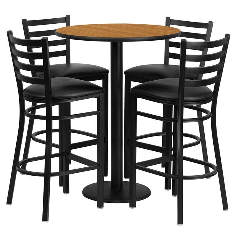 30 Round Natural Laminate Table Set With 4 Ladder Back Metal Barstools - Black Vinyl Seat - Restaurant Furniture Table & Chair Sets