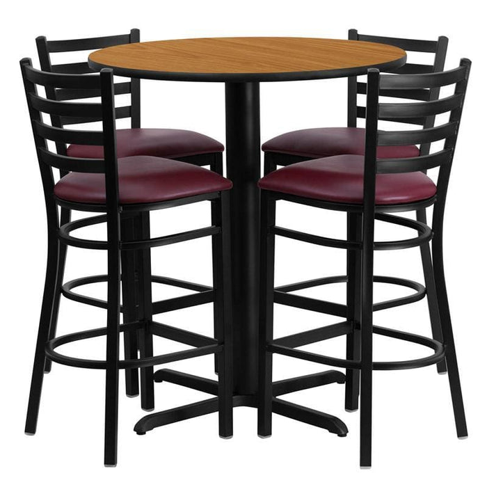 30 Round Natural Laminate Table Set With 4 Ladder Back Metal Barstools - Burgundy Vinyl Seat - Restaurant Furniture Table & Chair Sets