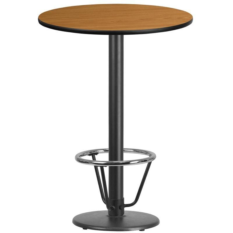30 Round Natural Laminate Table Top With 18 Round Bar Height Table Base And Foot Ring - Restaurant Tables