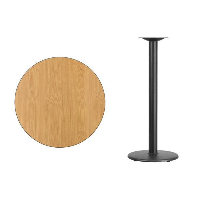 30 Round Natural Laminate Table Top With 18 Round Bar Height Table Base - Restaurant Tables