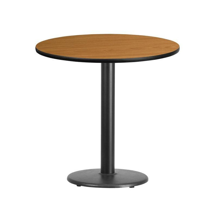30 Round Natural Laminate Table Top With 18 Round Table Height Base - Restaurant Tables
