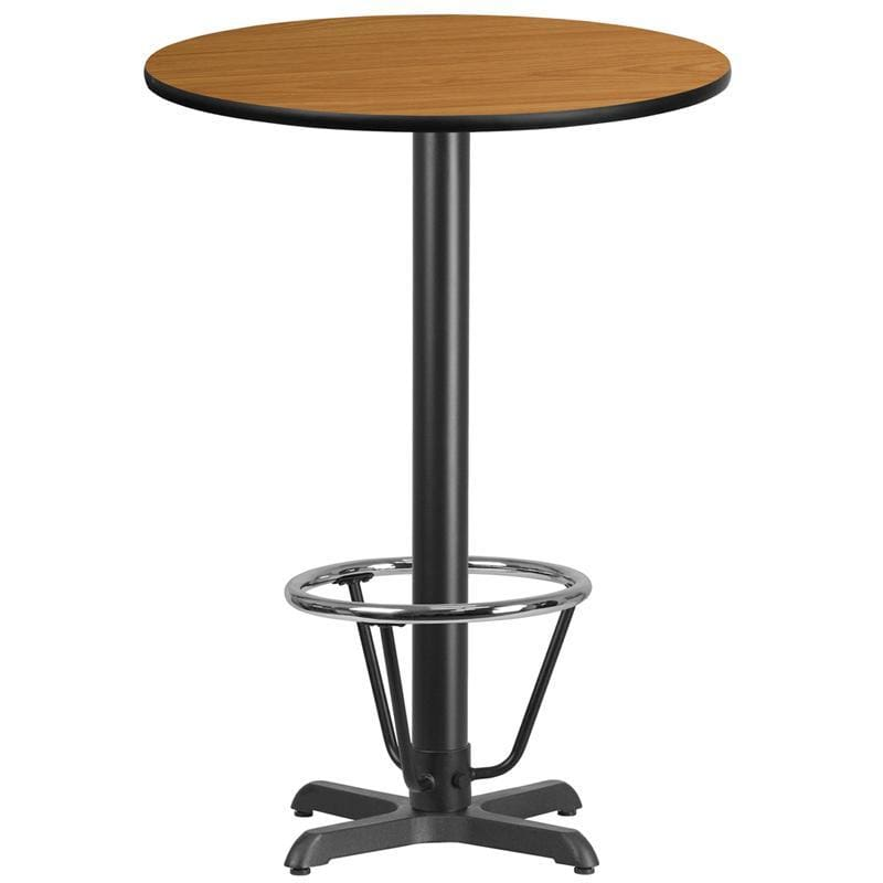 30 Round Natural Laminate Table Top With 22 X 22 Bar Height Table Base And Foot Ring - Restaurant Tables