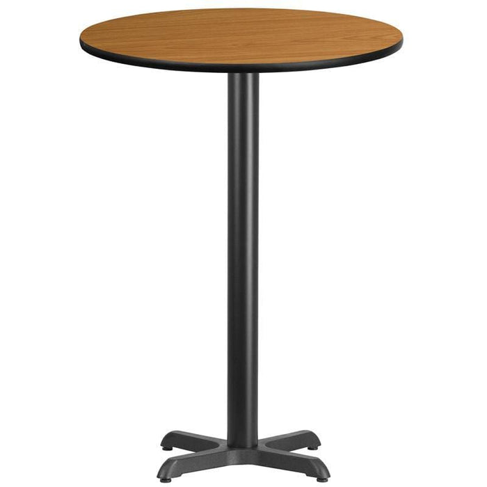 30 Round Natural Laminate Table Top With 22 X 22 Bar Height Table Base - Restaurant Tables