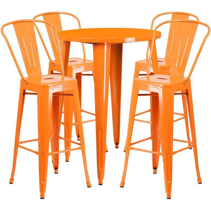 30 Round Orange Metal Indoor-Outdoor Bar Table Set With 4 Cafe Stools - Indoor Outdoor Sets