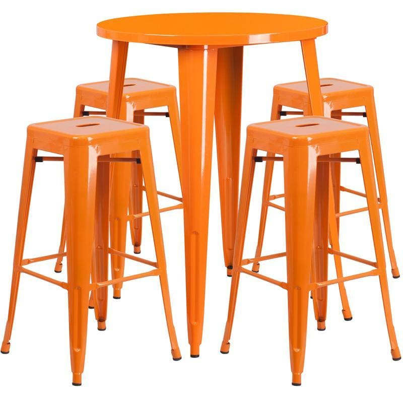 30 Round Orange Metal Indoor-Outdoor Bar Table Set With 4 Square Seat Backless Stools - Indoor Outdoor Sets