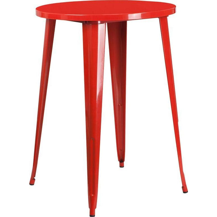 30 Round Red Metal Indoor-Outdoor Bar Height Table - Indoor Outdoor Tables