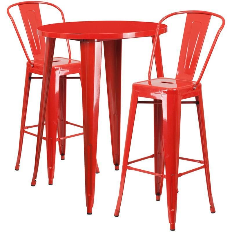 30 Round Red Metal Indoor-Outdoor Bar Table Set With 2 Cafe Stools - Indoor Outdoor Sets