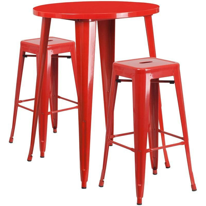30 Round Red Metal Indoor-Outdoor Bar Table Set With 2 Square Seat Backless Stools - Indoor Outdoor Sets