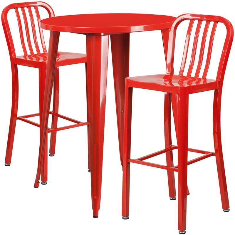 30 Round Red Metal Indoor-Outdoor Bar Table Set With 2 Vertical Slat Back Stools - Indoor Outdoor Sets