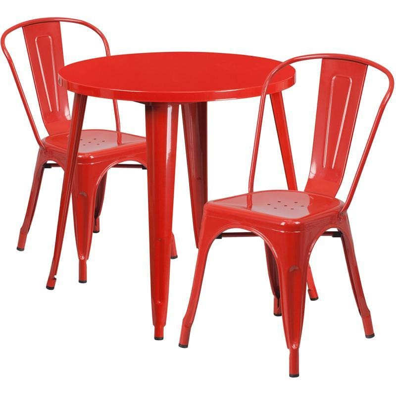 30 Round Red Metal Indoor-Outdoor Table Set With 2 Cafe Chairs - Indoor Outdoor Sets