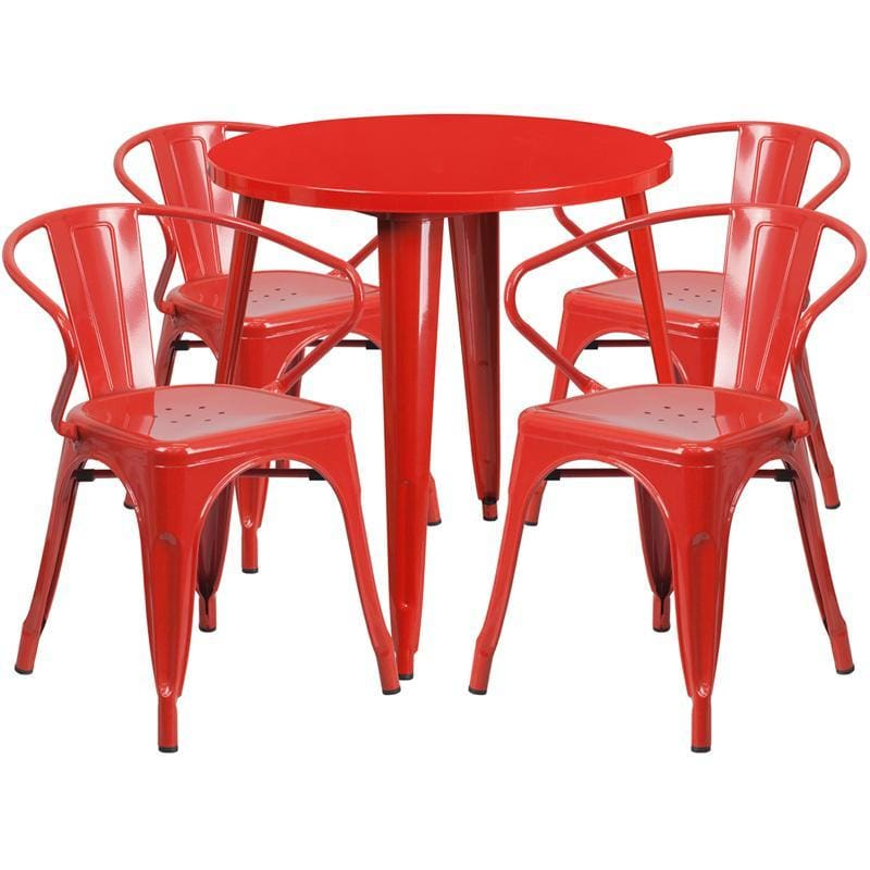 30 Round Red Metal Indoor-Outdoor Table Set With 4 Arm Chairs - Indoor Outdoor Sets