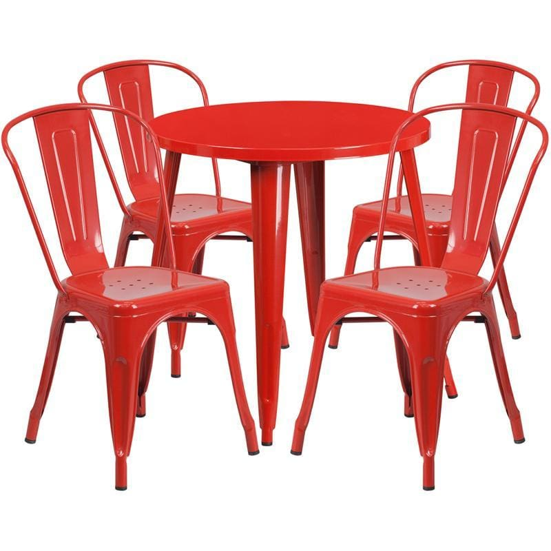 30 Round Red Metal Indoor-Outdoor Table Set With 4 Cafe Chairs - Indoor Outdoor Sets