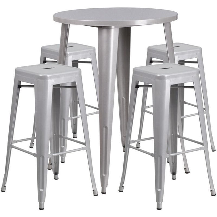 30 Round Silver Metal Indoor-Outdoor Bar Table Set With 4 Square Seat Backless Stools - Indoor Outdoor Sets