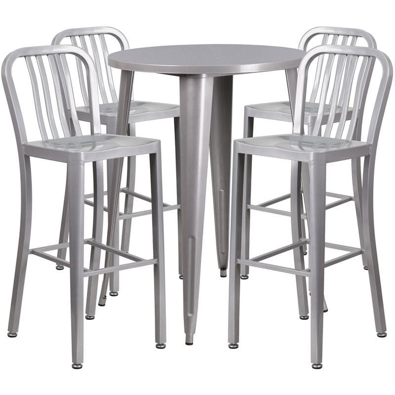 30 Round Silver Metal Indoor-Outdoor Bar Table Set With 4 Vertical Slat Back Stools - Indoor Outdoor Sets
