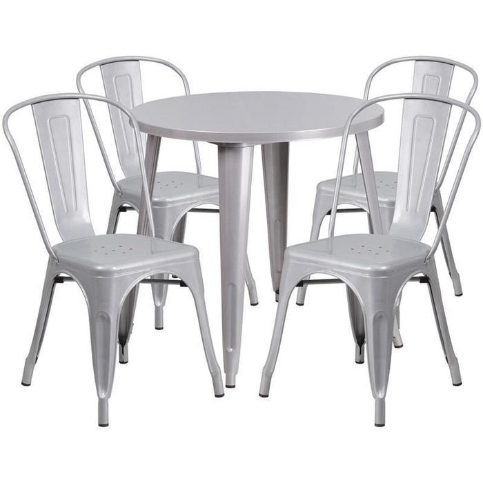 30 Round Silver Metal Indoor-Outdoor Table Set With 4 Cafe Chairs - Indoor Outdoor Sets